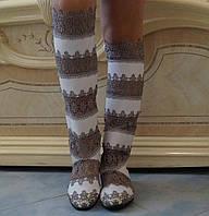 Стильные высокие серо-белые женские кружевные сапоги