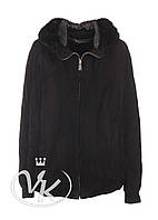 Замшевая кожаная куртка женская с капюшоном, фото 1