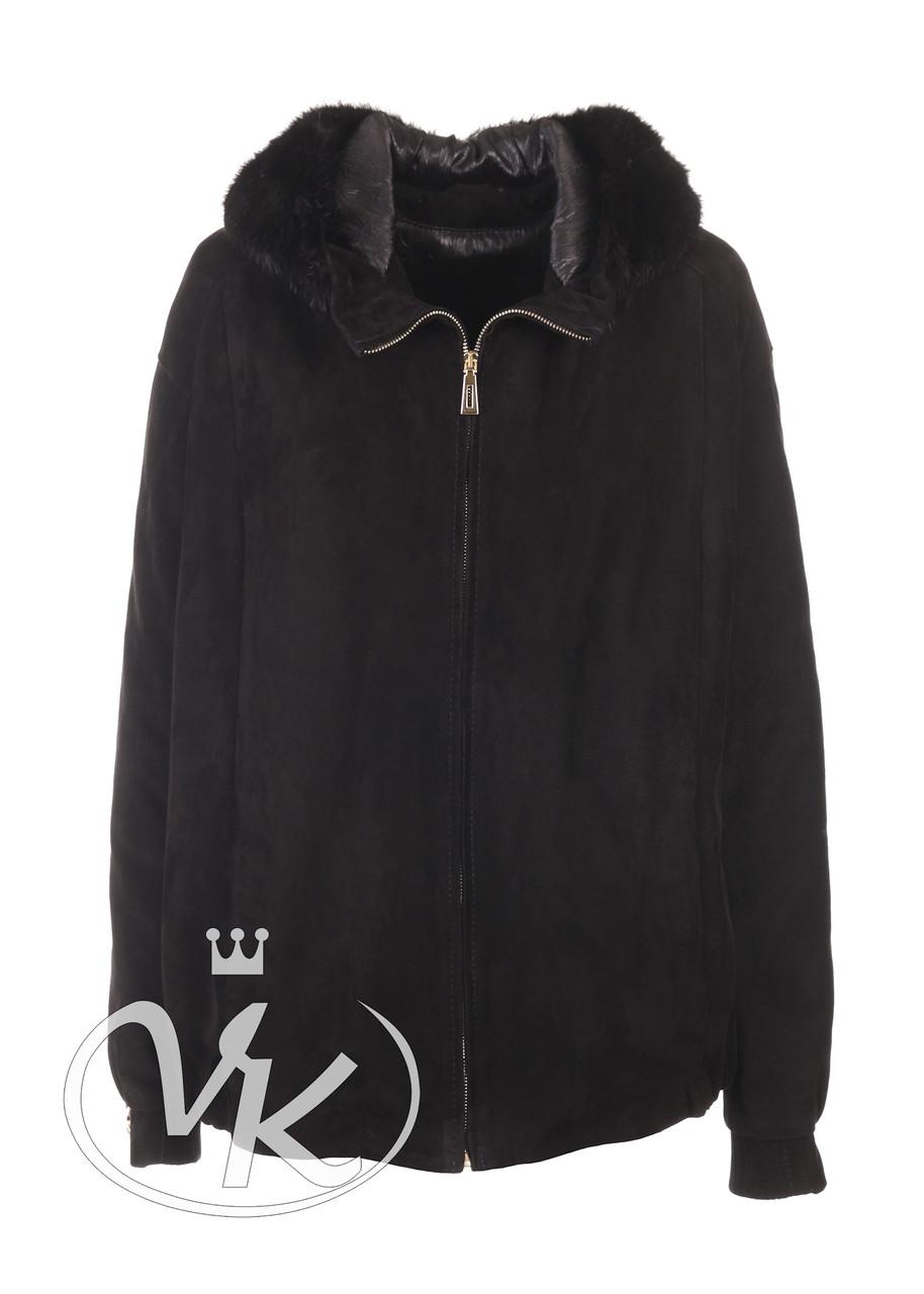 Замшевая куртка с мехом женская с капюшоном 52 размера (Арт. FRN202)