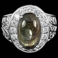 """Потрясающий  перстень """"Нимфа"""" с зеленым  сапфиром , размер 17  студия LadyStyle.Biz"""