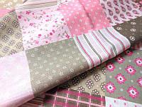 Ткань хлопковая Печворк розовая
