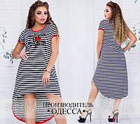 Модное летнее платье в полоску с удлиненной спинкой, размер 48-54