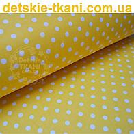Ткань с белым горошком 1 см на жёлто-оранжевом фоне (№201а)