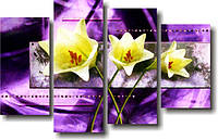 "Модульная картина ""Цветы лилии. Полиптих""  (950х1500 мм)  [4 модуля]"