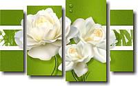 "Модульная картина ""Белые розы. Полиптих""  (700х1140 мм)  [4 модуля]"