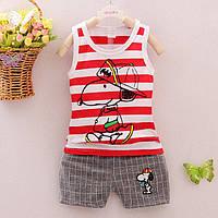 Оригинальный легкий костюм на мальчика Snoopy, майка и шорты. Хорошее качество. Доступная цена. Код: КГ1175