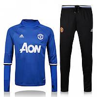 Спортивный костюм Adidas, Манчестер Юнайтед (синий). Футбольный, тренировочный. Сезон 16/17 (реплика) M (48-50)