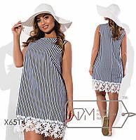 Летнее  платье из льна  с отделкой из кружева размер 48-54