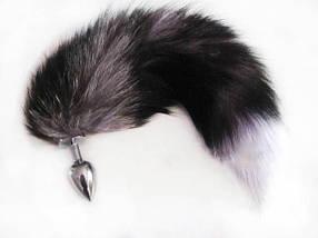 Анальная пробка хвост Grey Fox Plug серый, фото 3