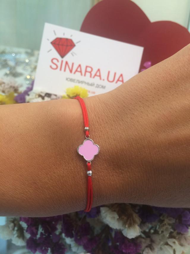 Браслет красная нить серебро с розовой эмалью фото