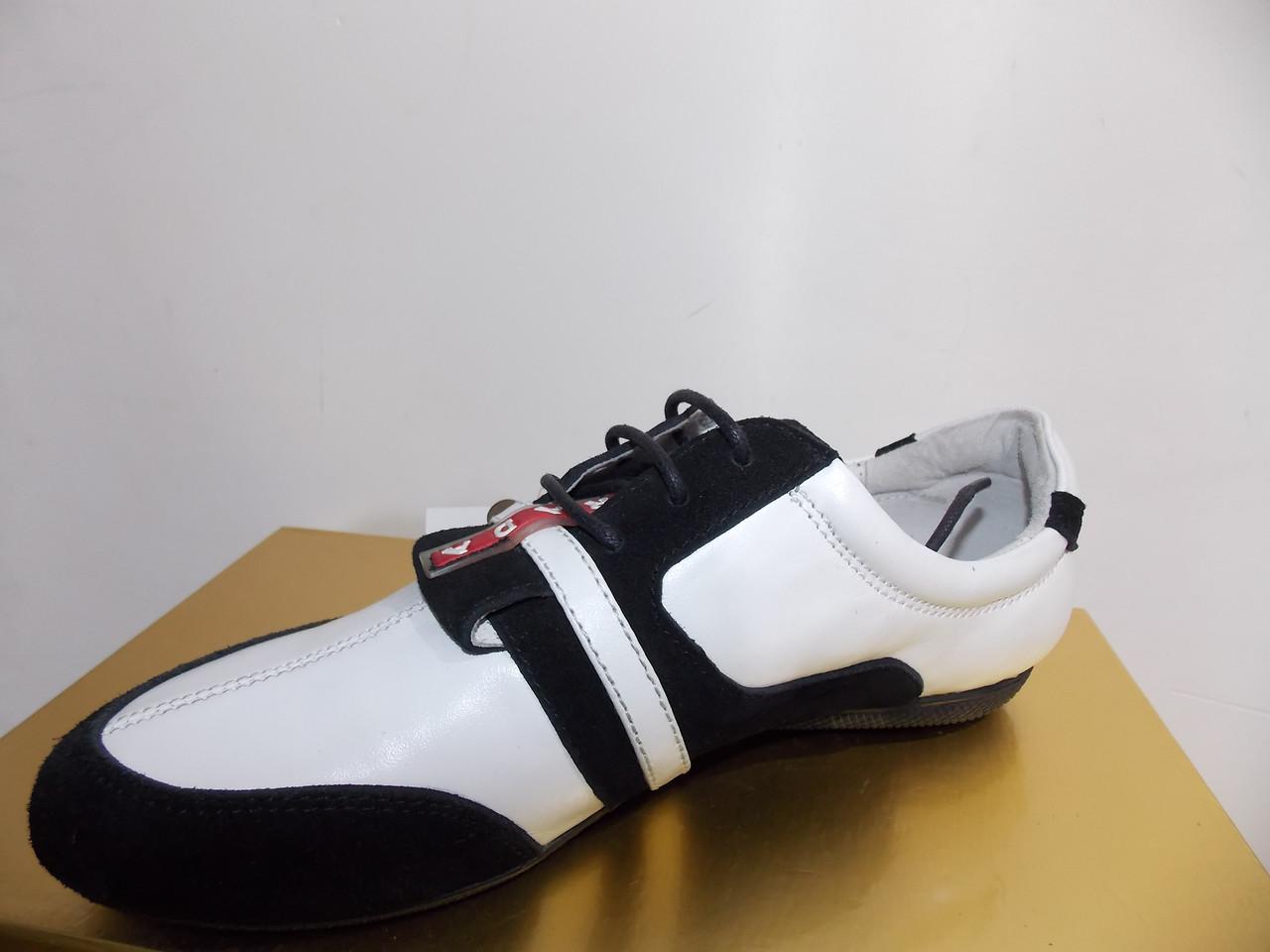 Женские мокасины Prada 7815 черно-белые