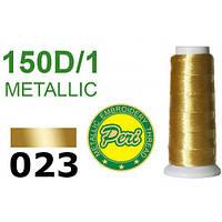 Нитки для вышивания, металлик, 100% полиэстер, длина 1400 ярдов, цвет 023, золотые темные