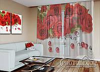 """ФотоТюль """"Розы и бусинки"""" (2,5м*1,50м, на длину карниза 1м)"""