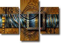 "Модульная картина ""Волны и золото"" (780х1100 мм) [3 модуля]"