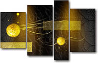 "Модульная картина ""Золотые сферы"" (830х1310 мм) [4 модуля]"