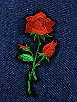 Нашивка Роза  цвет красный s 48x98 мм