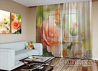"""ФотоТюль """"Розы невесты"""" (2,5м*6,0м, на длину карниза 4,0м)"""