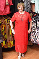 Красное гипюровое платье в пол