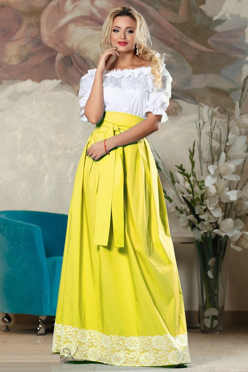 Красивая длинная летняя юбка 2176 42–48р. в расцветках