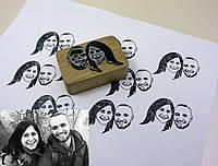 Штамп 2 фотографии на деревяном бруске с гравировкой