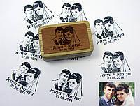 Штамп свадебные фотографии на деревяном бруске с гравировкой