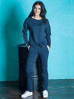 Качественный женский спортивный костюм темно-синего цвета