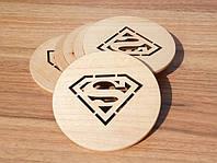 """Костер """"Супермен"""" 4 шт ( подставка под кружки) из дерева"""