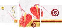 """Модульная картина """"Два красных цветка""""  (400х890 мм)  [3 модуля]"""