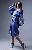 Платье с вышивкой Дерево жизни в стиле джинс, фото 1