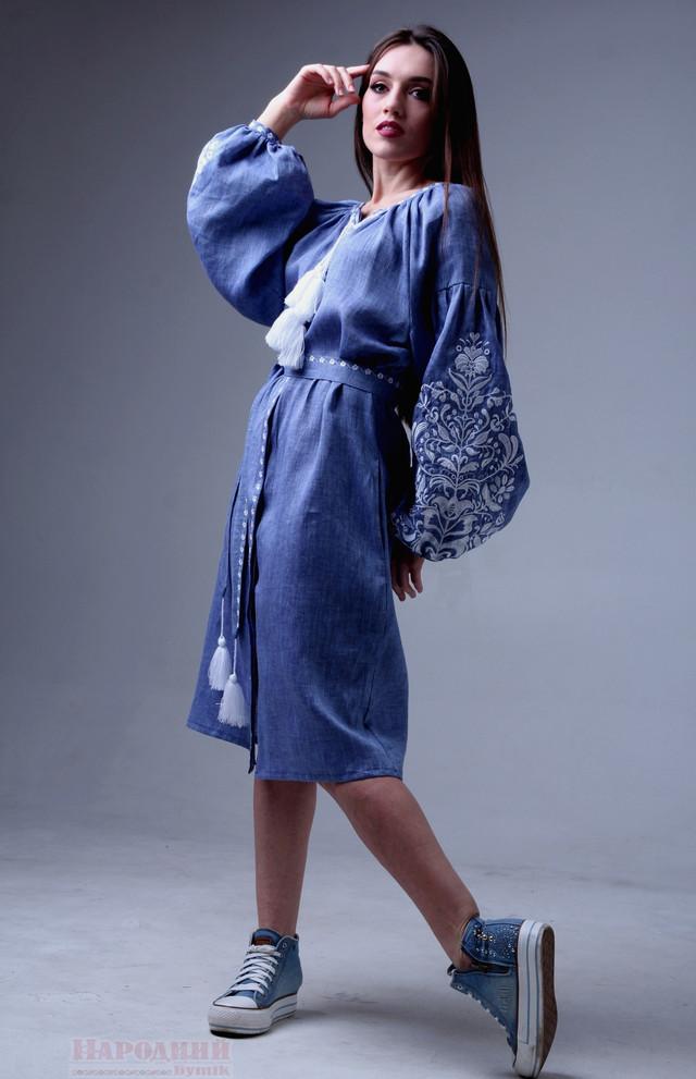 Платье с вышивкой лен джинс