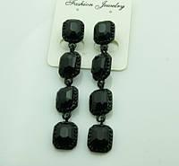 604 Черные серьги с квадратными черными кристаллами. Серьги на выпускной.