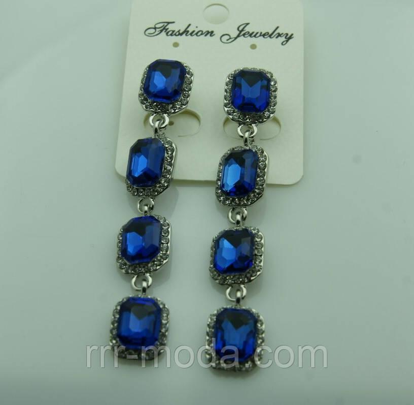 606 Длинные синие серьги с квадратными синими кристаллами. Серьги на выпускной.