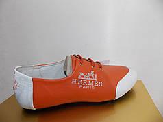 Жіночі мокасини Hermes 908 помаранчеві