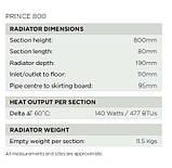 Классический чугунный радиатор на ножках PRINCE 800 от компании Arroll, фото 5