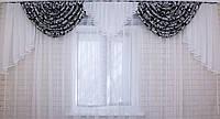 """Ламбрекен из плотной ткани """"Полина"""" Цвет черный с белым 063л043"""