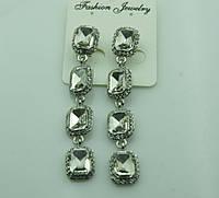611 Длинные белые серьги из квадратных белых кристаллов. Серьги на выпускной бал.