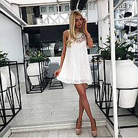 Женское свободное шифоновое платье с гипюром белого цвета. Ткань  шифон.  Размер  ... e35137b3fc946