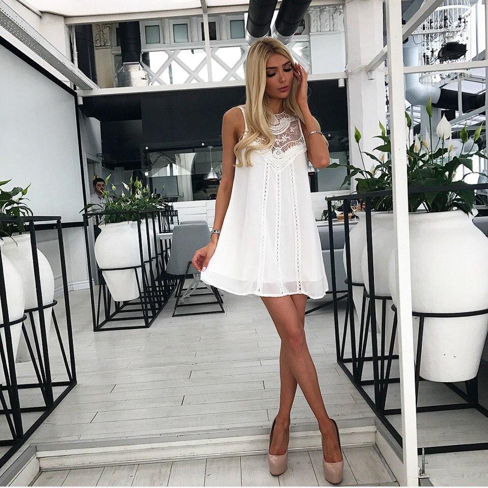 ade96ae5cdc Женское свободное шифоновое платье с гипюром белого цвета. Ткань  шифон.  Размер  хс