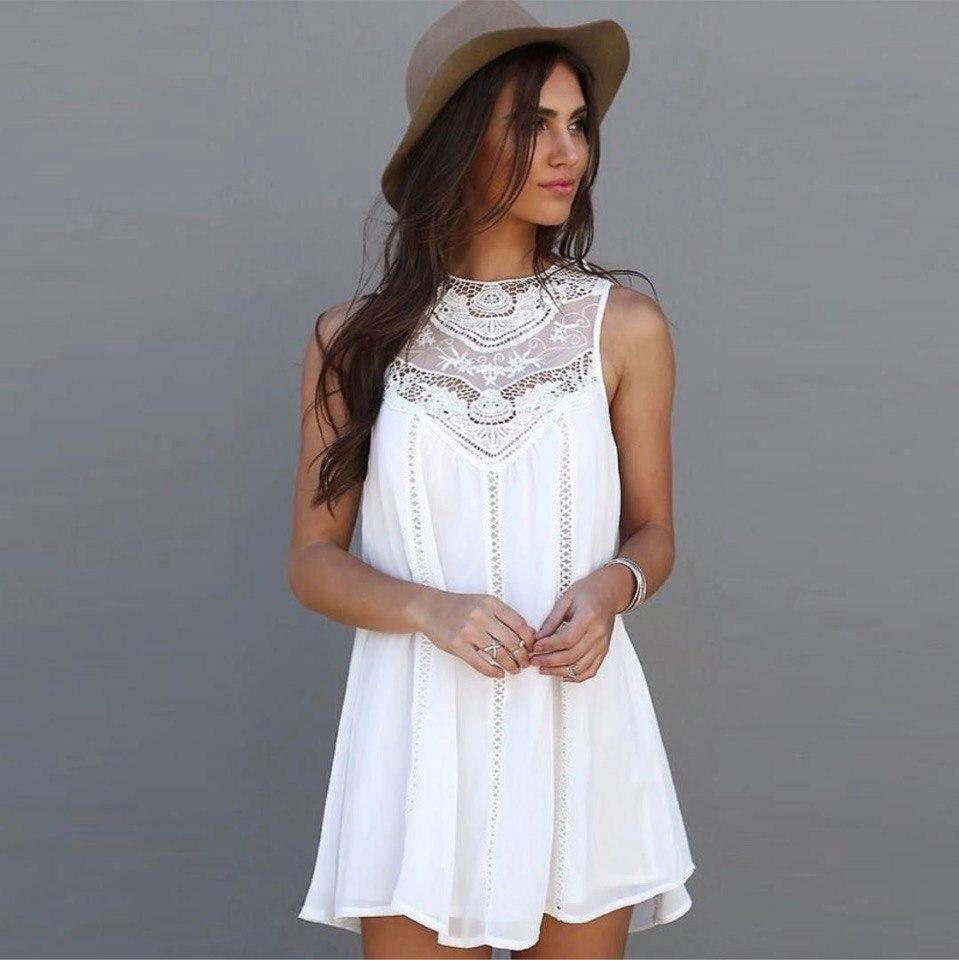 6966d09ec74 Размер  хс Женское свободное шифоновое платье с гипюром белого цвета. Ткань   шифон.