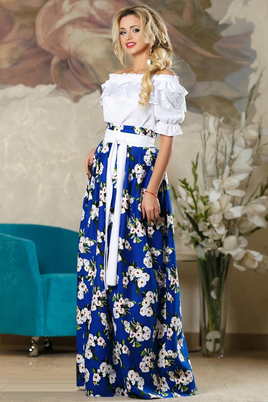 Длинная юбка в цветочек 2173 (42–46р) в расцветках