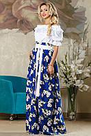 Длинная юбка в цветочек 2173 (42–46р) в расцветках, фото 1