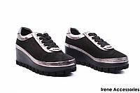 Туфли женские комбинированные Alpino (комфортные, стильные, танкетка, шнуровка)