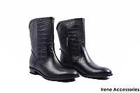 Ботинки женские кожаные WindRose (сапоги стильные, каблук, байка, черные, Украина)