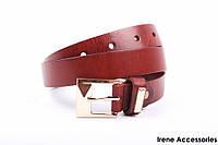 Классический кожаный ремень Guofend унисекс цвет коричневый, натуральная кожа (длина 100 см, ширина 2,5 см)