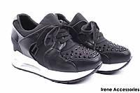 Молодежные кроссовки женские Li Fexpert эко-кожа черные (модные, стильные, на шнурках)