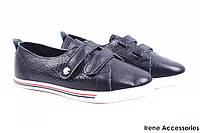 Кеды женские Li Fexpert эко-кожа цвет синий (кроссовки, модные, стильные, на липучках, платформа)