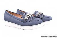 Стильные туфли женские Vices эко-замш (комфортные, платформа, голубой, декор)