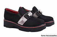 Стильные туфли женские Bona Rica эко-замш (комфортные, каблук, черные)