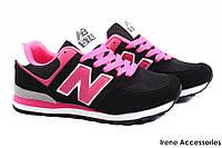 Кроссовки женские New Balance текстиль, цвет черный, розовый (модные, стильные, на шнурках)