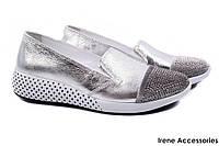 Стильные туфли женские Donna Ricco натуральная кожа + бархат, цвет серебро (комфорт, платформа, Турция